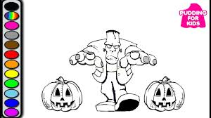 halloween coloring page frankenstein pumpkin and horror night