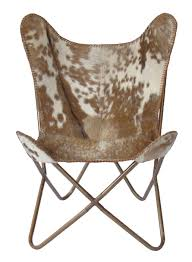 butterfly chair brown splotch hair on hide occasional chairs