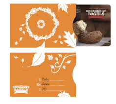 gift card sleeve gift card sleeve design bruegger s bagels rebrand