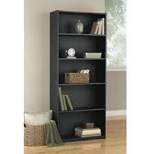 amazon com mainstays 5 shelf wood bookcase black oak kitchen