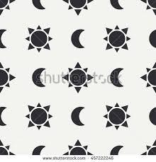 flat monochrome vector seamless pattern sun stock vector 457222246