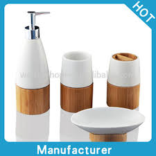 retail natural bamboo and ceramic bath accessories set creative