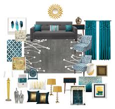 interior design home accessories teal grey gold living room by ealfaro814 on polyvore featuring