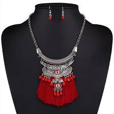 red necklace set images Ns10 boho red tassel statement necklace set poshmark jpeg