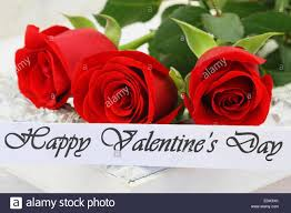happy valentine u0027s day card with three red roses stock photo