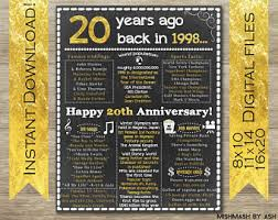 20 years anniversary gifts 20th anniversary etsy