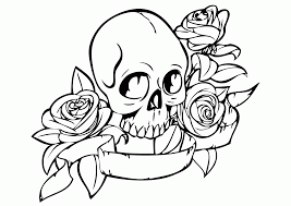 skull coloring pages girls kids coloring