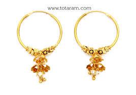 types of earrings for women gold hoop earrings ear bali in 22k gold with cz ger6206