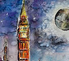 London Clock Tower Westminster In London Big Ben Clock Tower Original Watercolor And Ink