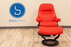 Small Chair And Ottoman by Stressless Sunrise Small Paloma Tomato Color Leather By Ekornes