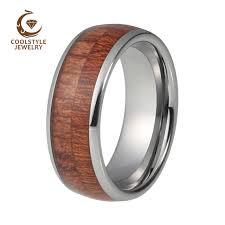 cincin tungsten carbide koa wood inlay pernikahan band cincin tungsten carbide cincin