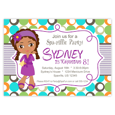 spa party invitation lime turquoise and orange polka dots