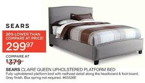 Sears Platform Bed Sears Sears Claire Queen Upholstered Platform Bed Redflagdeals Com