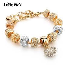 crystal heart charm bracelet images Longway luxury crystal heart charm bracelets bangles gold color jpg