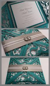 teal wedding invitations handmade turqoise blue silver glitter lasercut wedding invite