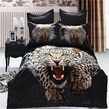 Leopard Bed Set Lifelike 3d Snow Leopard Bedding Set Size Cotton Animal
