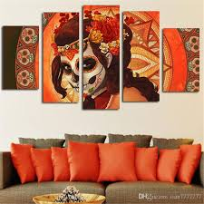 Day Of The Dead Home Decor 2017 Fashion Hd Printed Day Of The Dead Girls Canvas Painting