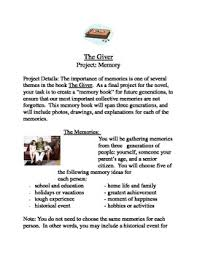 senior memory book ideas the giver memory book project by emily cicerale tpt