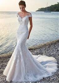 mermaid wedding dress buy discount glamorous tulle satin bateau neckline mermaid
