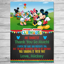mickey mouse printable birthday invitations mickey mouse clubhouse thank you card chalkboard mickey
