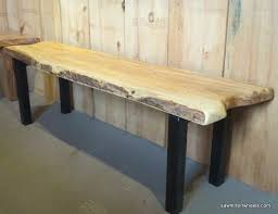 Wood Bench With Metal Legs Making A Live Edge Bench With Steel Legs Woodrtist