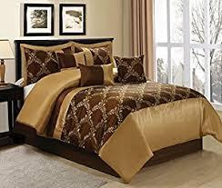 Bed In A Bag King Comforter Sets Amazon Com 7 Piece Claremont Medallion Design Bed In A Bag Brown