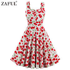 vintage dresses zaful plus size cherry print pin up summer dress women vintage 50s