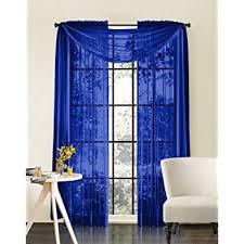 Blue Curtain Valance Amazon Com 1 X Royal Blue Elegance Sheer Scarf Valance 216 U0027 U0027 Long