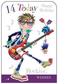 birthday boy jonny javelin boy guitar age 14 happy birthday card co uk