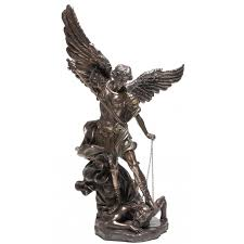 Sculpture For Home Decor by Archangel St Michael 47 Inch Statue Bronze Resin Christian Art
