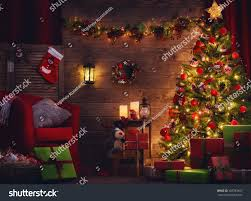 happy holiday beautiful living room decorated stock photo