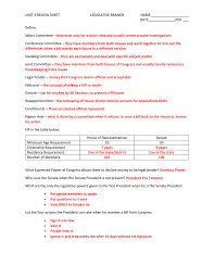 unit 3 review sheet with answers