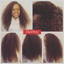 chest length deep twist crochet braids with knotless side parting