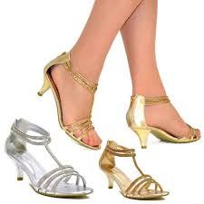 wedding shoes direct silver gold sparkly diamante strappy mid heeled sandals