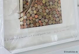 hochzeitsgeschenk basteln geld geldgeschenk mit münzen als wandbild gestalten kreativliste