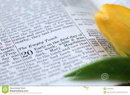 open bible with text in john 20 about resurrection royalty free