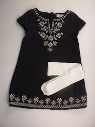 gap kids embroidered dress black white size 6 7
