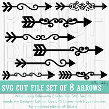 arrow svg cut file set of 8 commercial use ok includes png u0026 zoom
