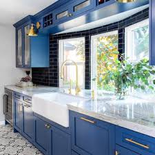 houzz blue kitchen cabinets 75 beautiful small kitchen with blue backsplash pictures