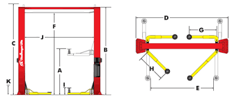 cl10 series two post car lifts dimensions
