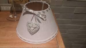 abat jour romantique chambre abat jour en blanc noeud gris avec dentelle sur le bas et coeur