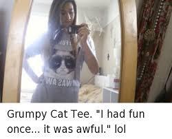 Grumpy Cat Meme I Had Fun Once - 1u71 grumpy cat tee i had fun once it was awful lol cats meme on