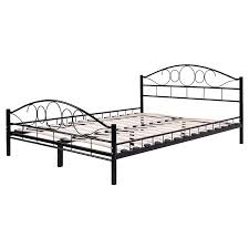 costway queen size wood slats steel bed frame platform headboard