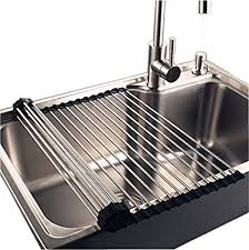 kitchen sink drainer amazon com over the sink kitchen dish drainer rack extra large