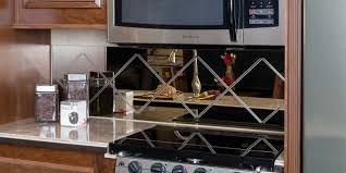 Mirror Tile Backsplash Kitchen by Small Kitchen Design Using Modern Diagonal Tile Mirrored Kitchen