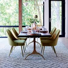 Upholstered Chairs Dining Room Mid Century Velvet Dining Chair West Elm