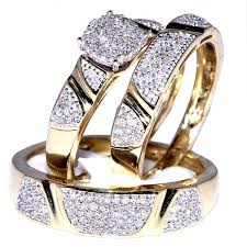 wedding rings set 1ct diamond his and trio wedding rings set 10k yellow gold