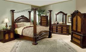 Four Poster Canopy Bed Frame Bedroom Brown Stained Oak Wood 4 Poster Canopy Bed With Curved