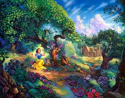 wallpaper snow white fairy forest trees house fairy tale hd