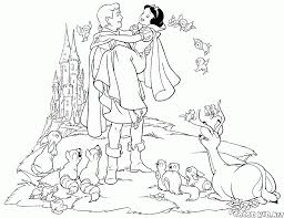 coloring page prince and snow white get married